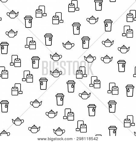 Natural Hot Ceylon Tea Seamless Pattern Vector. Teapot, Teabag And Cup Of Tea With Label Monochrome