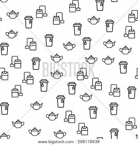 Product Of Natural Tea Seamless Pattern Vector. Cup With Hot Ceylon Tea, Leaf And Teabag With Label