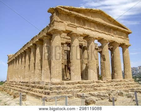 Temple Of Concordia Near A City Named Agrigento Located In Sicily, Italy