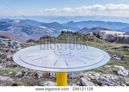 Directional Signboard, Klak Hill, Slovak Republic. Mountains Scene. Travelling Theme.