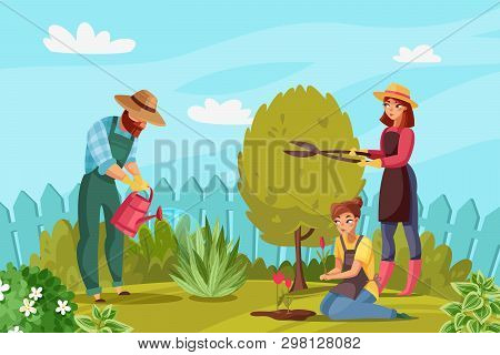 Gardening People Illustration. Cartoon Gardeners Working Man And Women Watering Plants Plant Flowers