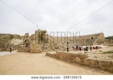 Caesarea, Israel - April 14, 2019: Theatre Of The Ancient Roman City Caesarea Maritima At The Medite