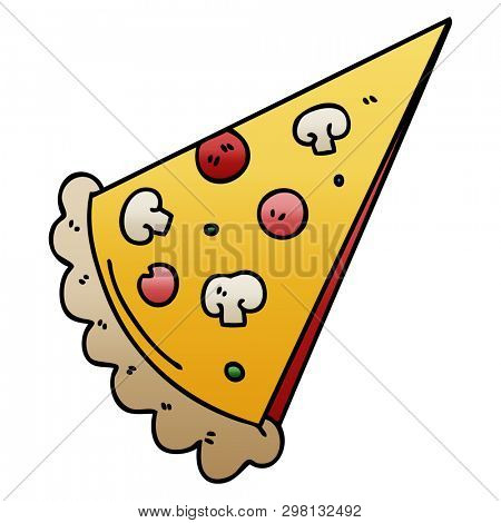 gradient shaded quirky cartoon slice of pizza