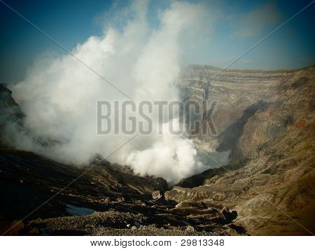 The mouth of a volcano