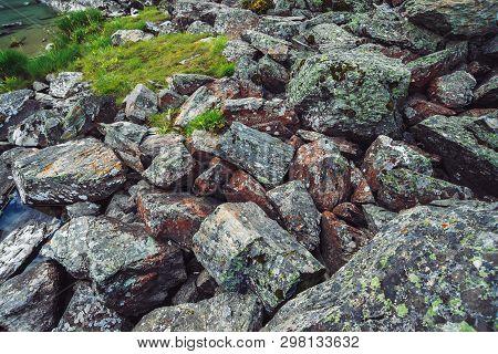 Multicolored Boulder Stream. Loose Rock Close Up. Water And Plants Among Randomly Stones. Amazing De