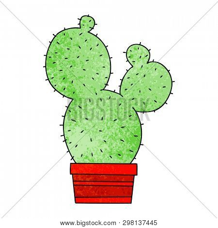 hand drawn quirky cartoon cactus