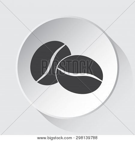 Two Coffee Beans - Simple Gray Icon On White Button With Shadow In Front Of Light Gray Square Backgr