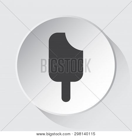 Stick Ice Cream - Simple Gray Icon On White Button With Shadow In Front Of Light Gray Square Backgro