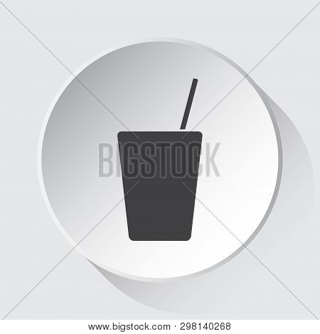 Drink With Straw - Simple Gray Icon On White Button With Shadow In Front Of Light Gray Square Backgr