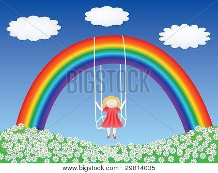 Девочка в Swing, висит на Радуга