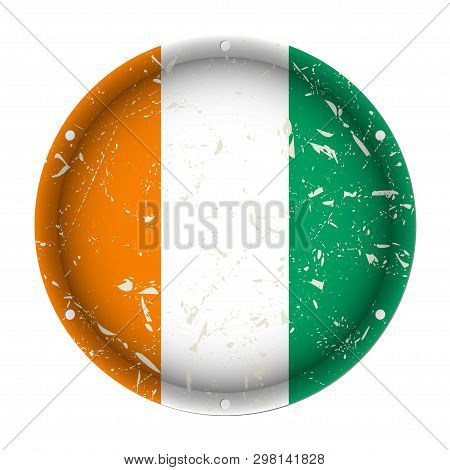 Ivory Coast - Round Metallic Scratched Flag With Six Screw Holes In Front Of A White Background
