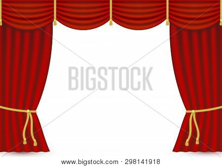 Vector Realistic Red Stage Curtains. Luxury Silk Velvet Curtains With Drapery, Tied With Golden Cord
