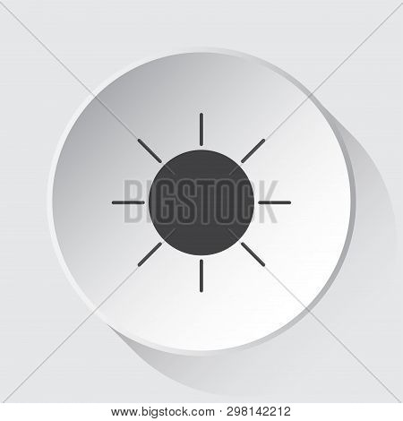 Weather Sunny - Simple Gray Icon On White Button With Shadow In Front Of Light Gray Square Backgroun