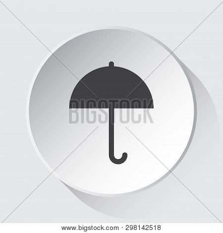 Umbrella - Simple Gray Icon On White Button With Shadow In Front Of Light Gray Square Background