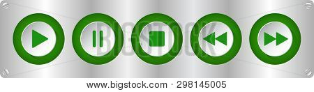 Green, White Round Music Control Buttons Set - Five Buttons On A Metal Plate With Rounded Corners Wi