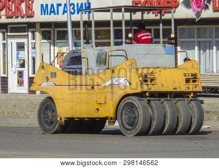Kazakhstan, Ust-kamenogorsk, April 11, 2019: Steamroller. Equipment For Construction And Repair Road