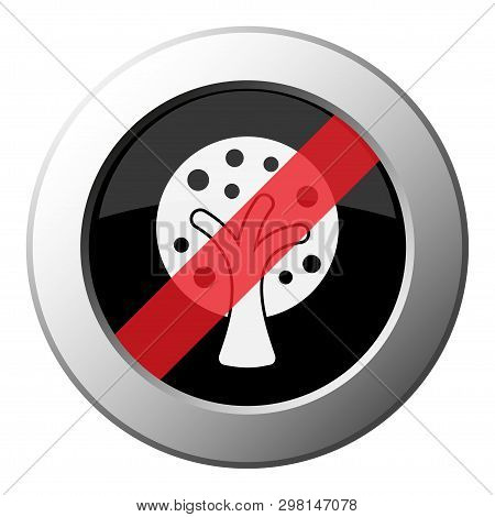 Stylized Tree With Branches And Fruits - Ban Round Metallic Push Button With White Icon On Black And