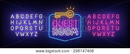Quest Room Neon Sign, Bright Signboard, Light Banner. Escape Room Logo, Emblem And Label. Neon Sign