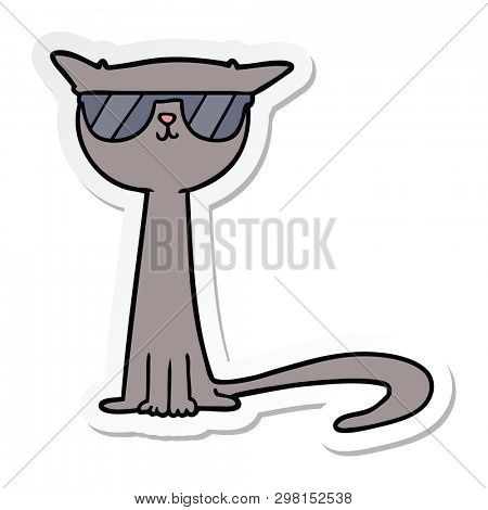 sticker of a cartoon cool cat
