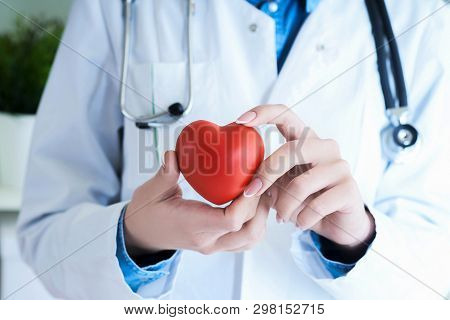 Female Medicine Doctor Hold In Hands Red Toy Heart Close -up. Cardio Therapeutist Student Education