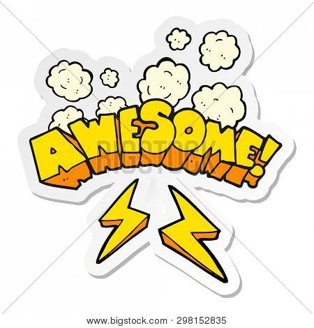 sticker of a cartoon word awesome