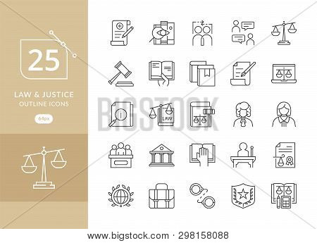 Law And Justice Icon Set Suitable For Info-graphics, Websites And Print Media. Modern Thin Line Icon