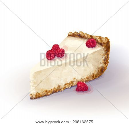 Vector Piece Of Cheesecake Cake With Airy And Tender, Delicate Creamy-curd Cheese. Crisp And Crumbly