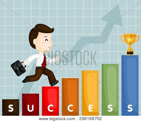 A Vector Of Cute Businessman Climbing Stair To Have A Successful Career