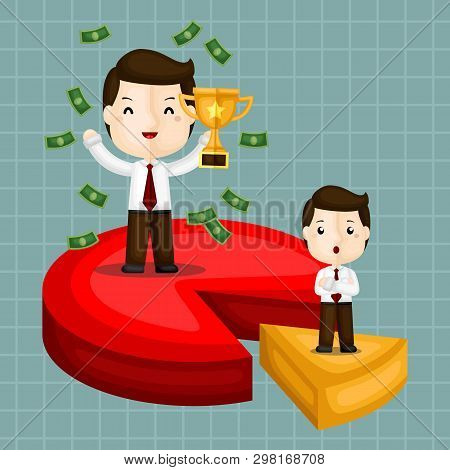 A Vector Of Successful Businessman Surrounding With Money And A Cute Businessman Standing On A Small