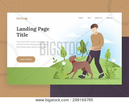 Modern Flat Design Concept Of Web Page Design For Pet Care, Pet Store Website. Illustration Of A Man