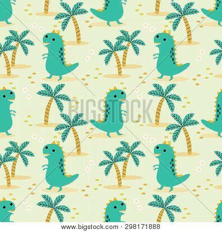 Cute Dinosaur Seamless Pattern. Material For Kids Fabric, Textile, Nursery Wallpaper. Lovely Dino De