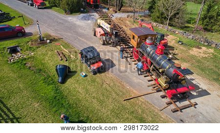 Elizabethtown, Pa - April 2019: Abe Lincoln Funeral Train Being Loaded Onto The Track