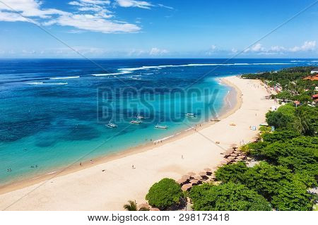 Aerial View At Beach And Ocean. Turquoise Water Background From Top View. Summer Seascape From Air.