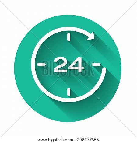 White Clock 24 hours icon isolated with long shadow. All day cyclic icon. 24 hours service symbol. Green circle button. Vector Illustration poster