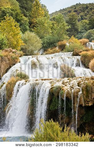 Krka, Sibenik, Croatia, Europe - Krka Cascades Leading To A River Bed