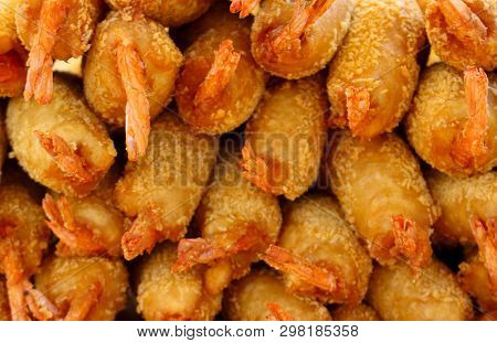 Popular Street Cuisine Of Vietnam. Tempura Shrimp Food Background. Selective Focus