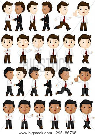A Vector Set Of Cute Workers In Many Actions And Positions