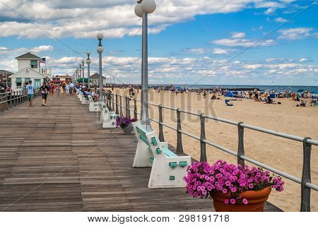 Avon By The Sea, New Jersey - June 30: A Look Down The Boardwalk With Many People On June 30 2007 In