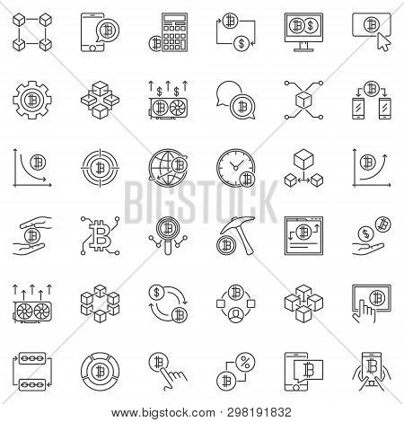 Blockchain And Cryptocurrency Concept Outline Icons Set. Vector Collection Of Blockchain Linear Symb