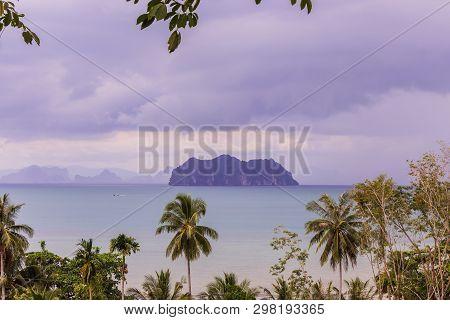 Panorama View Of Mountain Islands In Phang-nga Bay, View From Ko Yao Noi Hillside, Phang-nga Provinc