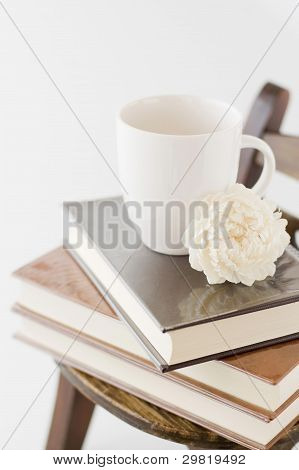 Books and mug cup.
