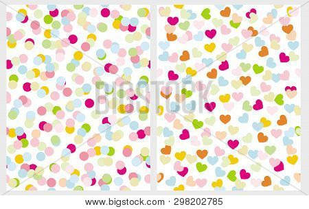 Set Of 2 Abstract Seamless Irregular Vector Patterns With Dots And Hearts On A White Background. Mul