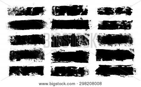 Grunge Paint Roller. Vector Brush Stroke. Distressed Banner. Black Stripes Isolated. Paintbrush Coll
