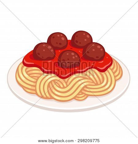 Cartoon Plate Of Spaghetti With Meatballs And Tomato Sauce. Classic Pasta Dish, Isolated Vector Illu