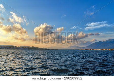 Sunset Over The Harbor Of Lixouri On Kefalonia Greece