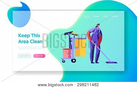 Woman Dressed In Uniform Washing And Cleaning. Floor With Mop In Office, Professional Cleaning Servi