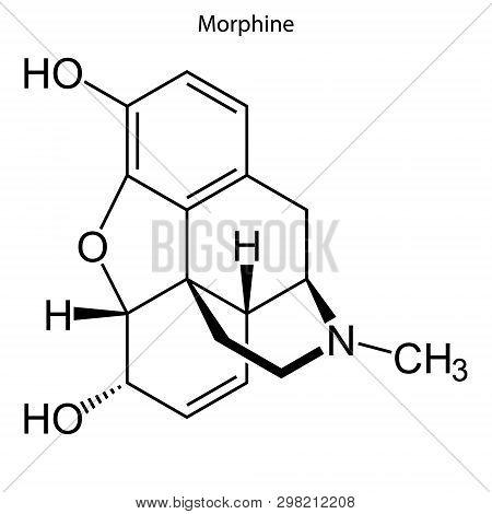 Skeletal formula of Morphine. chemical molecule . Template for your design . Template for your design poster