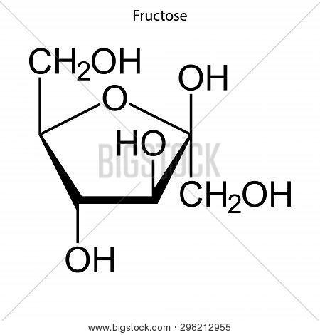 Skeletal Formula Of Fructose. Chemical Molecule . Template For Your Design . Template For Your Desig