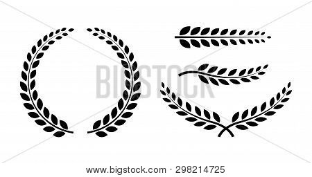 Best Set Laurel Wreaths And Branches. Wreath Collection. Winner Wreath Icon. Awards. Vector Illustra