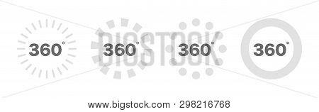 360 Degree Views Set Icon. 360 View Symbol. Set Of Loading Icons. Vector Illustration